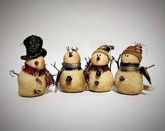 ON SALE - 35% OFF - Primitive Country Snowmen Ornies