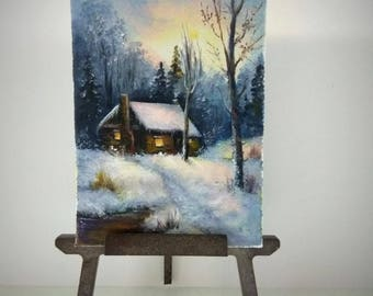 ACEO Winter painting aceo original painting on canvas miniature painting oil painting landscape painting Christmas painting ATC art card
