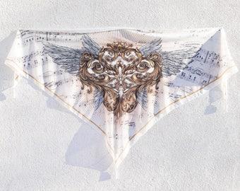 Wings Shawl, Triangle Scarf, Printed Shawl, Opera Music Lover, Bohemian Scarf, Baroque Wedding Shawl, Bridal Shawl, Steampunk Wedding