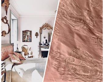 SWATCH Designer Neoclassical 100% Silk Jacquard Damask Fabric - Dusty Rose Pink