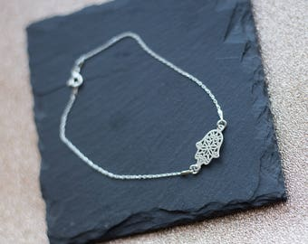 Silver Hamsa Hand Bracelet | 925 Sterling Silver | Dainty Bracelet | Simple Chain | Protection Jewelry