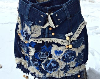 Handmade Denim Bag, Blue Jeans Bag, Bag with Flower, Casual Denim, Handmade Bag, Jeans Handbag, Street Style, Hippie Bag, Hobo Bag