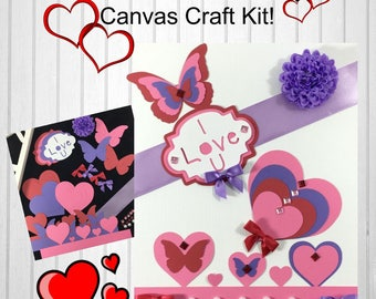 DIY Valentine's Day Canvas Craft Kit, Valantines Day Gift for Kids, Valentines Gift From Child, 35pc