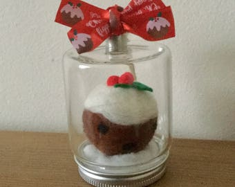 Hand felted xmas pudding in hanging glass jar