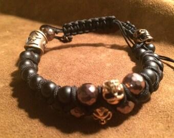 Skull Men's Bracelet Hematite