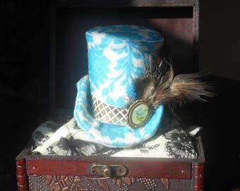 Blue Steampunk / Victorian / Mad Hatter / Mini Top Hat / Fascinator
