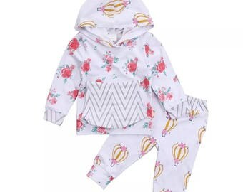 Floral Hot Air Balloon Print Hoodie 2 Piece Outfit