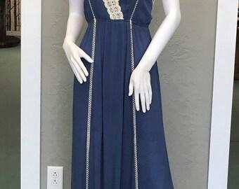 Women's blue with tan crochet accent maxi dress