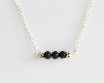 Diffuser necklace with lava bead bar