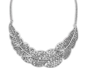 Silver leaf statement  necklace
