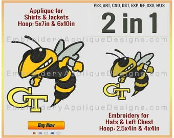 Georgia Tech Yellow Jackets - NCAA Sports Team Logo - 4 sizes - Embroidery for 2.5x4in, 4x4in hoops & Applique for 5x7in and 6x10in hoops