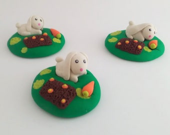 Bunny In A Carrot Garden Scene, Bunny, Bunny Scene, Easter Theme Scene, Movable Bunny Scene