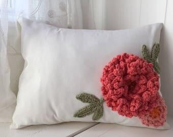 "Spring Decor, Floral decorative pillow, Crochet flower pillow,Pink flower pillow, Peony, 12""x 16"", Elegant pillow, Gift for flower lovers"