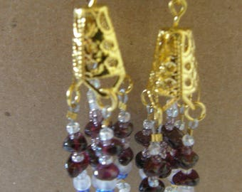 Gold and Garnet Dangle Earrings