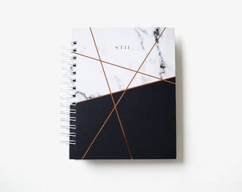 2018 Daily Monthly Student Planner Agenda Calendar Custom 6 Months Marble Copper Foil