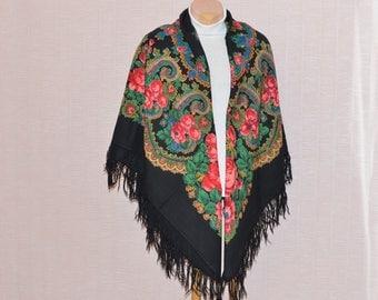Black Russian shawl with roses russian folk scarf  russian pavlovo posad wool shawl large russian shawl fringe shawl scarf vintage russian
