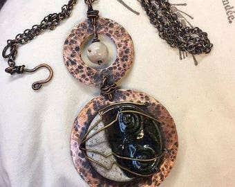 Raku hammered cooper two toned necklace