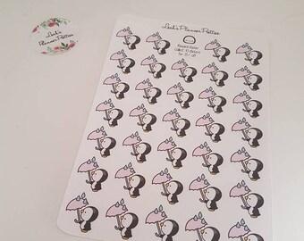 Penguin planner sticker// Penny Penguin// Rainy day// Rain stickers// Weather stickers// Planner stickers