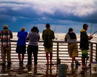 Fishing at Dawn at Boynton Beach Inlet: 5x7 matted digital image