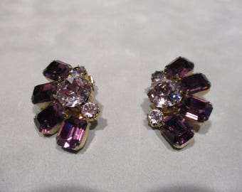 Weiss purple rhinestone clip earrings