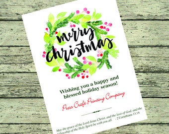 Watercolor Wreath Christmas Card