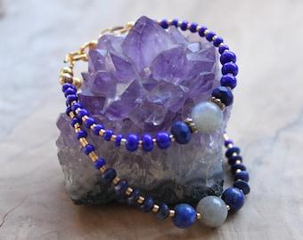 Handmade lapis lazuli and labradorite bracelet, gemstone jewelry, mother daughter bracelet, blue bracelet, children's bracelet, birthstone