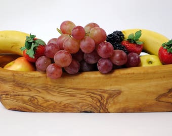 Rustic Olive Wood Handcraft Bowl for Bread or Fruit
