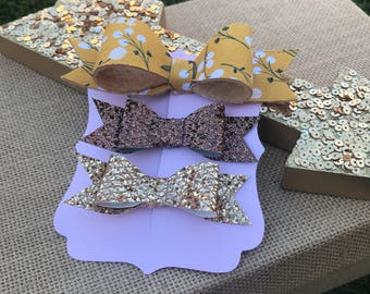Dandelion hairbow set of 3 hairbows