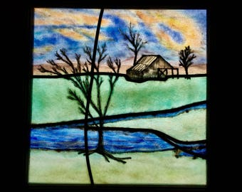 Fused Stained Glass leaded Farm Scenic Window