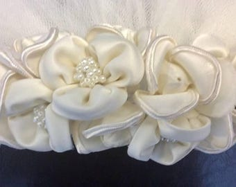 Beaded Lace Wedding Veil With Silk Pearl Flowers Vintage