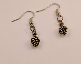 Little Mini Bronze Pine Cone Dangle Earrings, Tiny Small Earrings