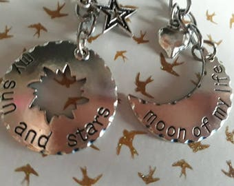 Moon of my life, my sun and my stars matching Keychains