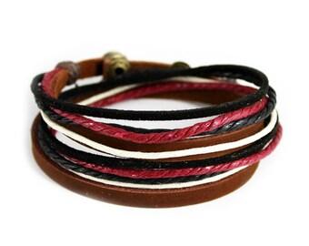 C2 Men's Adjustable Brown Leather Multicolor Ropes Bracelet Cuff