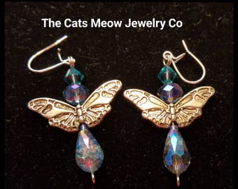 Butterfly and Crystal Earrings