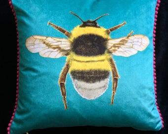 Velvet Turquoise Bumblebee Cushion