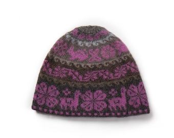 Hand made knitted hat - purple and greyAlpaca Hand Knitted Hat | Purple and Grey