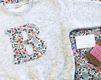 Liberty Print Sweatshirt Children's Personalised Initial, Age or Name Sweatshirt in Navy, Grey or Pink, Baby Girl Outfit, Girl's Sweatshirt