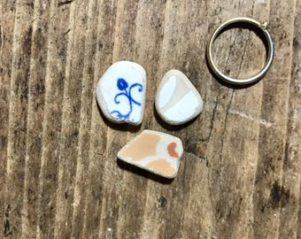 Italian Sea Pottery Pieces * Little Beach Pottery * Sea Washed Shards * Surf Tumbled Tiles * Ceramics for Jewelry Making  * Sea Charms