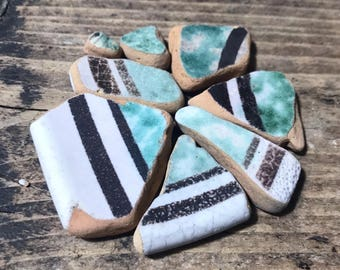 Italian Sea Pottery * Beach Pottery Pieces * Green Brown Terracotta * Pottery Mosaics Home Decor * Natural Craft Supply * Beach Shards mix