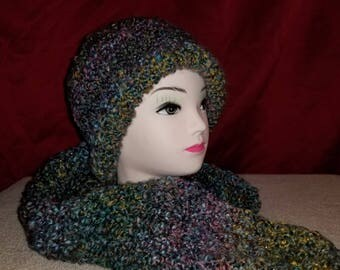 Hat and scarf set dark multi