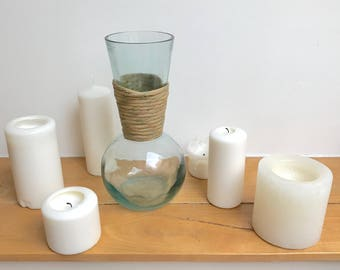 Vase glass & raffia
