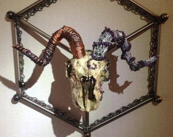 Wire and Crystal Wrapped Goat Skull Wall Sculpture