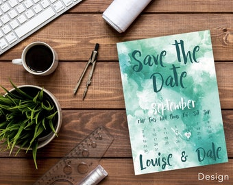 Printable Watercolour Save The Date cards