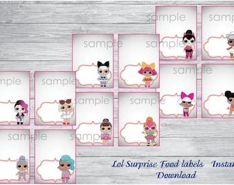 INSTANT DOWNLOAD- Lol Surprise food labels,Lol Surprise party, Lol Surprise birthday