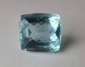 GIA Certified Aquamarine- Large Faceted, Natural Blue Beryl, Pale Blue, Modified Brilliant Cut, 79.92ct, 26.3 x 24.59 x 17.82 mm