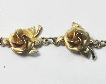 Beautiful 12k Gold Filled A.C. 7 Flower Floral Bracelet