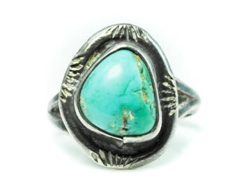 Beautiful Sterling Silver Turquoise Solitaire Ring Handcrafted 16mm Size 3.5