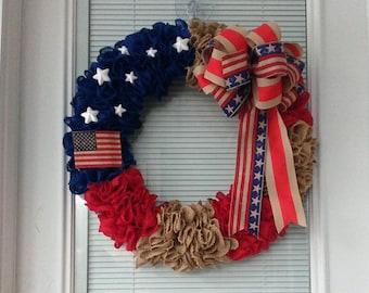 Patriotic Burlap Ruffle Wreath.