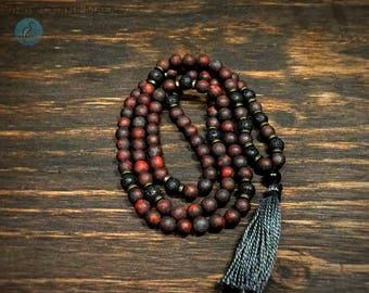 "Russian Shungite Guru, Jasper, & Lava Stone Mala  - 35"" Mala Necklace (or Quad-Wrap Bracelet!)"