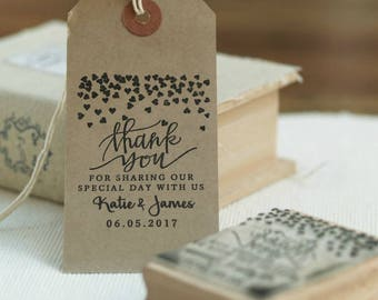 Wedding Favor Rubber Stamp with Heart Design, Wedding Stamp